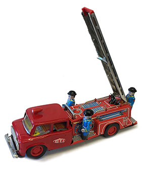 vintage tin toy replica fire truck